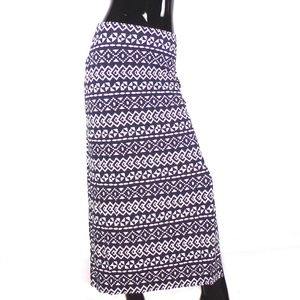 LOFT Navy & White Geometric Print Maxi Skirt